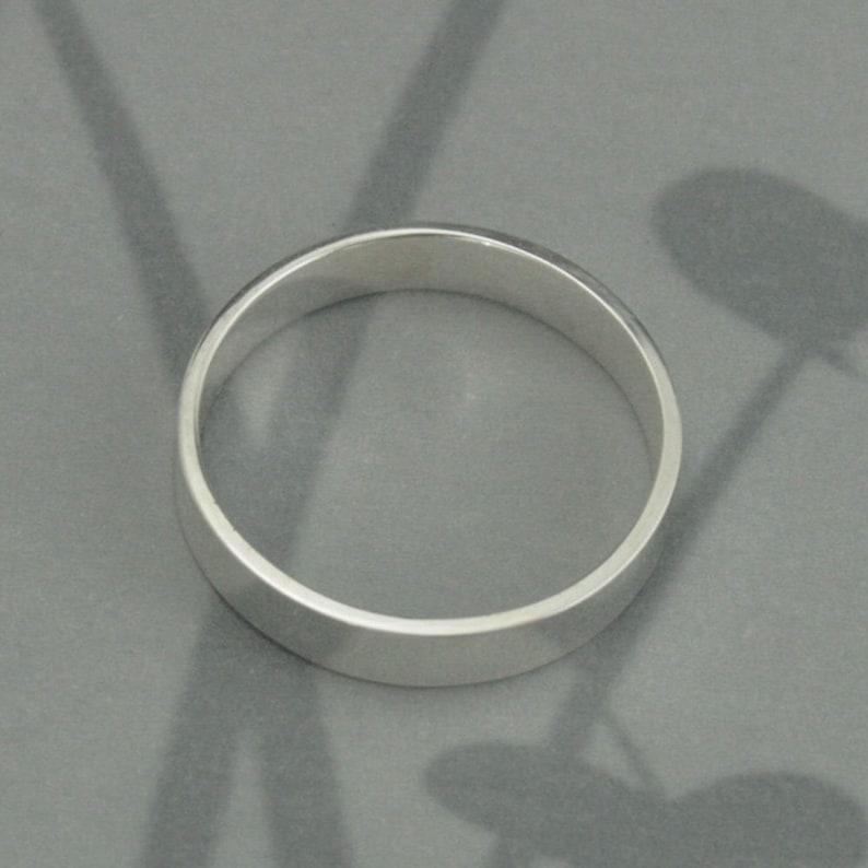 Ring Mens Wedding Band Womens Wedding Ring Silver Wedding Band 4mm Ring Flat Edge Band Grooms Ring Sleek Wedding Band Straight /& Narrow Band