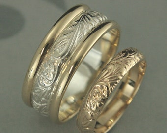 Two Tone Wedding Set HIs and Hers Bands Gold and Silver Floral Pattern Rings Vintage Style Modern Handmade Bimetal Wedding Rings Blazer Arts