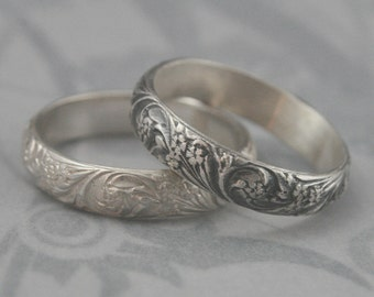 Vintage Style Band Silver Wedding Band Bridal Bouquet Band Floral Ring Flourish Patterned Ring Women's Wedding Ring Oxidized Silver Ring