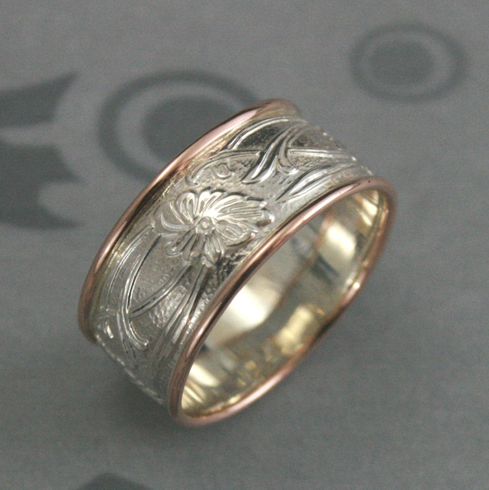 e986c80145417 Wide Art Nouveau Ring Unique Wedding Band Floral Ring Edged in Gold Two  Tone Ring Art Deco Ring Vintage Ring Antique Ring Wide Floral Band