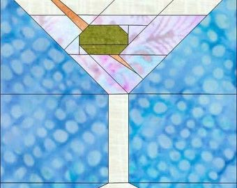 Martini With Olive-Paper Pieced Pattern-PDF-MadCreekDesigns