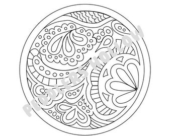 Original Zentangle inspired design circular motif coloring page
