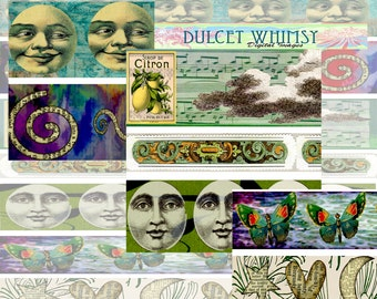 Digital Collage Strips, Printable Vintage Ephemera Collage strips