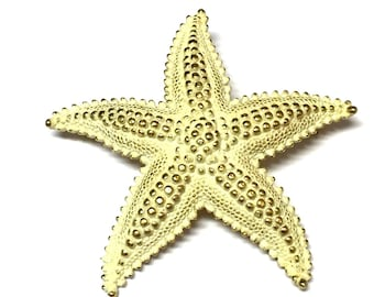 Vintage MONET Large Textured Gold White Starfish Nautical Pin Brooch Jewelry