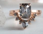 Custom Natural Rose Cut Diamond Engagement Ring- cushion/emerald cut