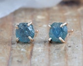 Raw Montana Sapphire Stud Earrings