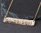 "Save the Date / Nameplate Necklace- as seen in ""NYLON"", ""The ZOE Report"" + ""Martha Stewart Weddings"""
