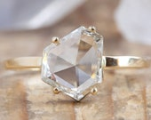 One Of A Kind Asymmetric Hexagon Diamond Engagement Ring
