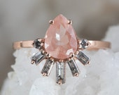 One of a Kind Sunstone Engagement Ring with Baguette Diamond Sunburst