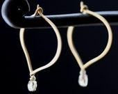 Champagne Diamond Lotus Hoop Earrings