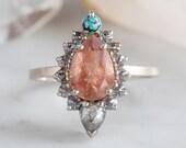 Sunstone Engagement Ring with Turquoise & Diamond Sunburst Halo