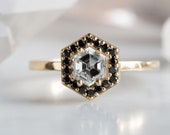One of a Kind Black + White Hexagon Diamond Engagement Ring