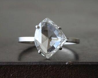 Custom Clear- White Rose Cut Diamond Ring