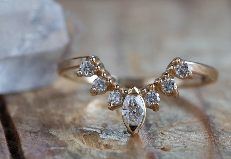 3f39f36acf863 Marquis Diamond Sunburst Stacking Ring