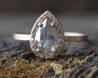 Natural Grey Rose Cut Diamond Ring with Pavé Halo