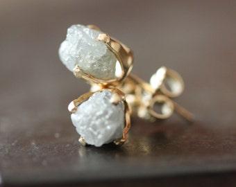 Rough Diamond Stud Earrings in 14kt Gold- as seen in LUCKY magazine, People Style Watch and Martha Stewart Weddings