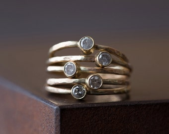 Natural Silver-Clear Diamond Stacking Ring