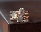 Natural Diamond Slice Ring in 14kt Rose Gold