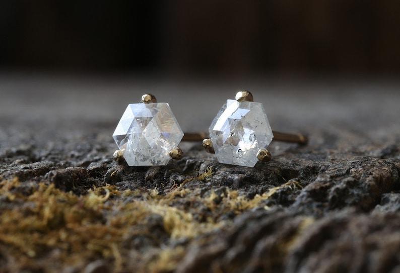 Teensy Natural Rose Cut Diamond Hexagon Stud Earrings image 0