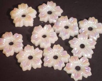 Vintage White Iridescent Shimmering Flower Glass Beads