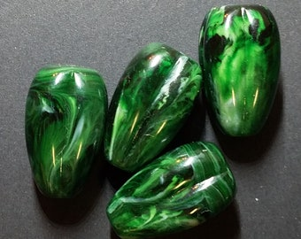Vintage Semi-Translucent Green Marbleized Lucite Focal Beads