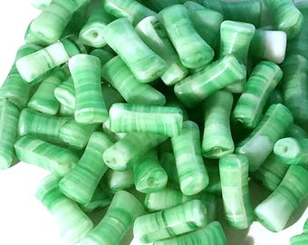 Beads Striated Green Glass Rectangle Vintage Beads 24mm