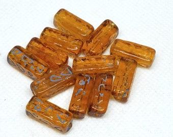 Vintage Egyptian Revival Hieroglyphs Amber Glass Beads