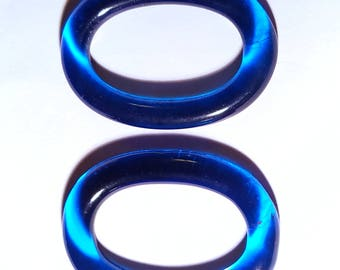 Vintage Aqua Blue Oval Glass Connectors