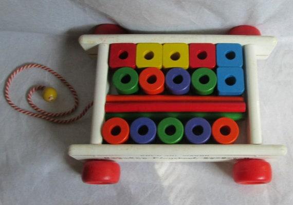 Vintage Playskool Col-O-Rol Wagon with Box Excellent