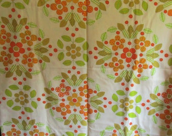 Vintage Twin Size Flat Sheet Earth Tone Patchwork Floral Print on Creamy Off White