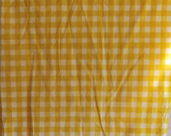 Vintage Twin Fitted Sheet Gingham Sunshine Yellow and White