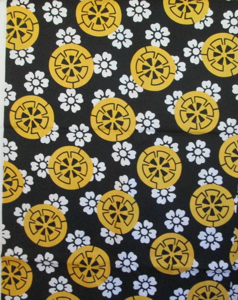 Vintage Black White and Yellow Fabric Cherry Blossoms and Citrus Gears