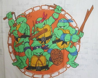 Vintage Teenage Mutant Ninja Turtles Twin Flat Sheet 1990 TMNT