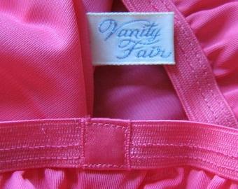 Vintage Nylon Half Slip Bright Rose Pink Vanity Fair Small