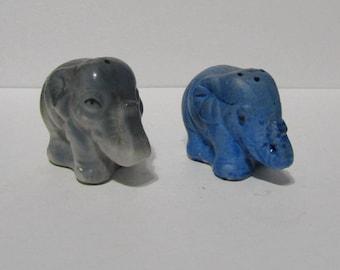 Vintage Elephants Salt & Pepper Shaker Set Blue Grey