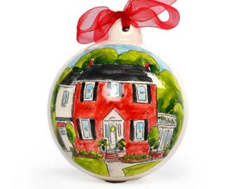 Personalized house portrait Christmas ornament, housewarming gift by Cathie Carlson