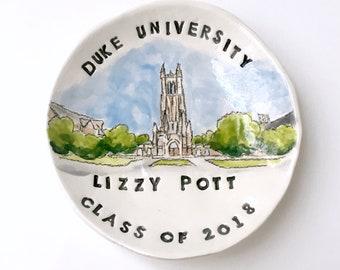 College graduation gift for her keepsake ring holder university ring dish handmade by Cathie Carlson