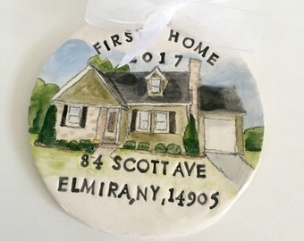 Personalized first home Christmas ornament new house gift hand painted from your photo by Cathie Carlson