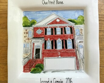 Custom house portrait plate, engagement gift, first home, housewarming, hostess by Cathie Carlson