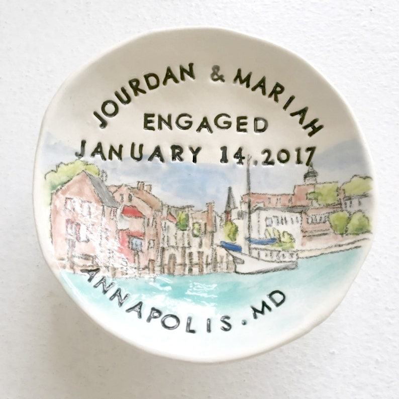 Engagement gift for couple custom ring dish unique image 0