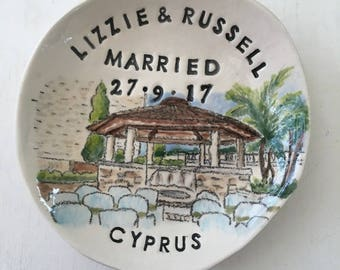 Personalized wedding gift ring holder engagement gift for couple date location from photo handmade pottery by Cathie Carlson