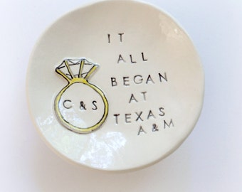 Personalized engagement gift for couple, best friend personalized ring holder handmade by Cathie Carlson