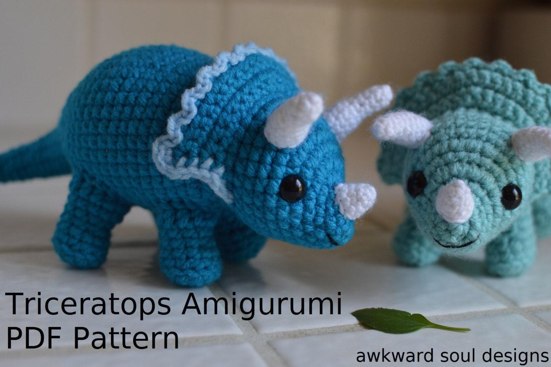 Triceratops Dinosaur Crochet Amigurumi Doll PDF Pattern   Etsy