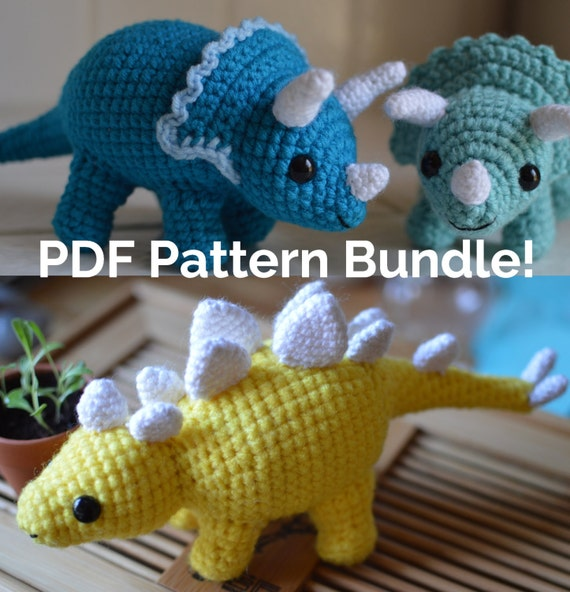 Crochet Triceratops and Stegosaurus Pattern Bundle