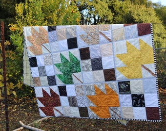 Maple Leaf Nine Patch Quilt-as-You-Go Pattern PDF Download