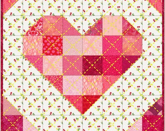 Scrappy Heart | Valentine's Quilted Wall Hanging Pattern | Instant Printable Download