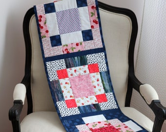 Plate of Cherries Disapearing Nine-Patch Quilt Pattern Table Runner - Instant PDF Download