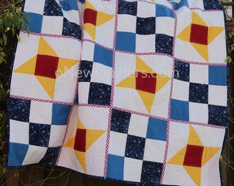 Starry Night | Friendship Star/Nine Patch Quilt-as-You-Go Pattern | Lap/Throw Size | Instant Printable Download