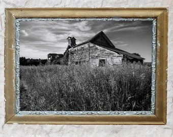 Black and White Farm Photography of a Dilapidated  Barn in a Rural Landscape