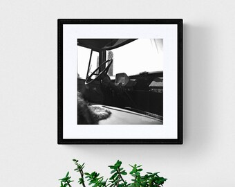Black and White Print of an Old Truck , Film Photography , Rustic Wall Decor , Rusty Truck Photo , Steering Wheel Photograph , Farm Print
